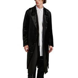 Velvet & Silky Twill Layered Coat