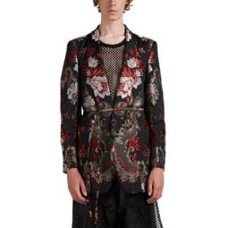 Floral Jacquard Open-Front Sportcoat
