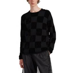 Checked Mixed-Knit Wool-Blend Sweater