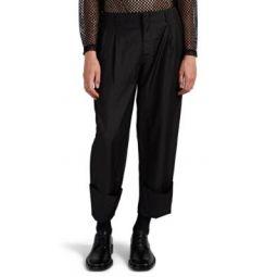 Metallic Twill Pleated Cuffed Trousers