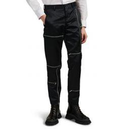 Zip-Detailed Tech Satin Trousers