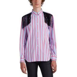 Fringe-Trimmed Striped Cotton Shirt