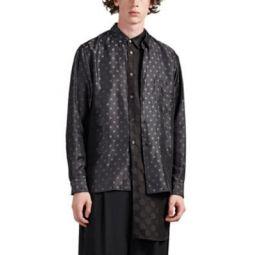 Polka Dot Layered Silky Twill Shirt