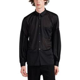 Sheer Jersey Puff-Sleeve Blouse
