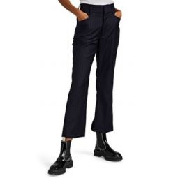 Pinstriped Worsted Wool Crop Pants