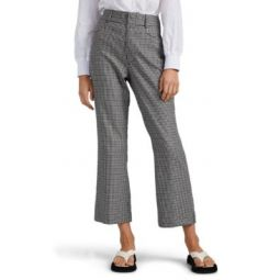 70s Checked Wool-Blend Crop Pants