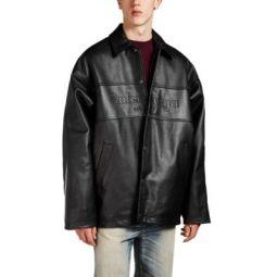 Logo-Embroidered Leather Oversized Jacket