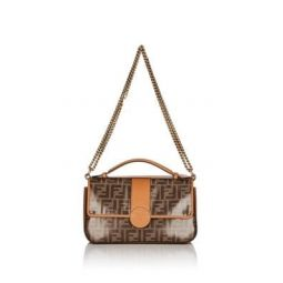 Double F Coated Canvas & Leather Shoulder Bag