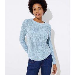 Marled Ribbed Shirttail Sweater