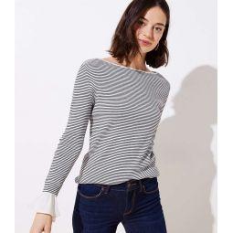 Striped Flounce Cuff Sweater