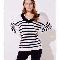 Striped Drop Shoulder V-Neck Sweater