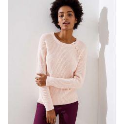 Button Trim Raglan Sweater