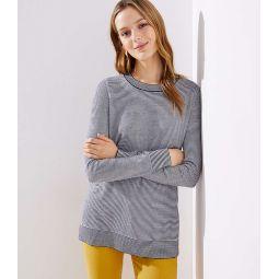 Striped Side Slit Tunic Sweater
