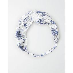 AE White Floral Twist Headband
