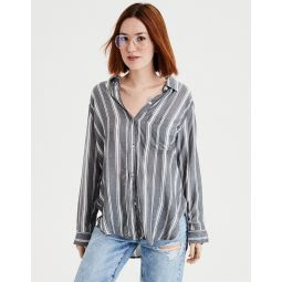 AE Long Sleeve Stripe Tie Front Button Down Top