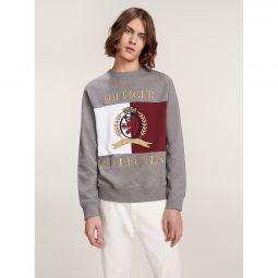 Flag Crest Embroidery Crew Neck Sweatshirt