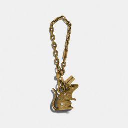 Lunar New Year Jeweled Metal Rat Bag Charm