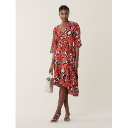 Eloise Silk High-Low Midi Dress