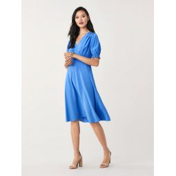 Idris Cinch-Sleeve Crepe Midi Dress
