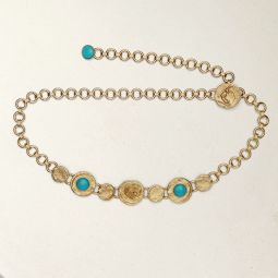 Chain Belt With Hammered Medallions