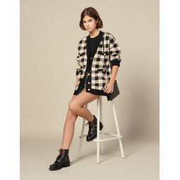 Loose-Fitting Checked Cardigan