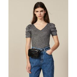 Lurex Knit Top With Puff Sleeves