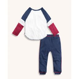 Little Boy Raglan Tee And Piped Jogger Set