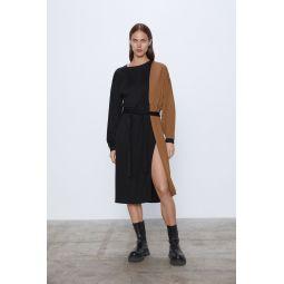 BLOCK COLOR DRESS WITH BELT