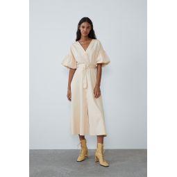 BELTED VOLUMINOUS DRESS