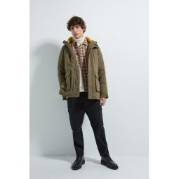 THREE QUARTER LENGTH PUFFER JACKET WITH CONTRASTING LINING