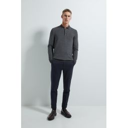 TEXTURED WEAVE POLO SWEATER