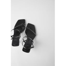 STRAPPY MID-HEEL LEATHER SANDALS
