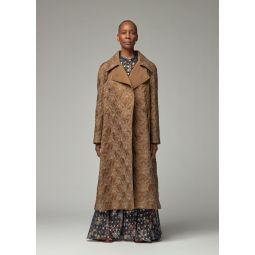 Flame Coated Silk Ponge Coat in Brown