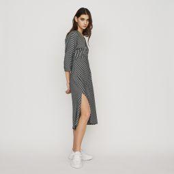 RAVA Zipped midi dress with stripes