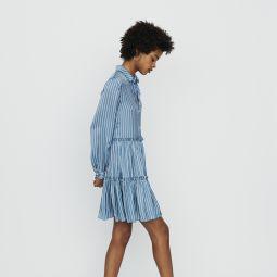 RODESA Striped shirt dress with ruffles