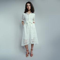 RALFA Midi dress in daisy guipure