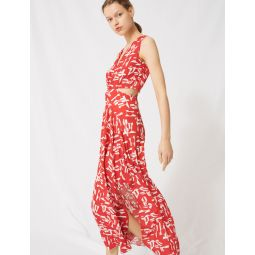 220RENILDE Red dress with cutouts