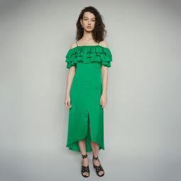 ROVANTA Midi dress with thin straps and ruffles