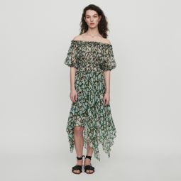RULLI Long smocked dress in floral print