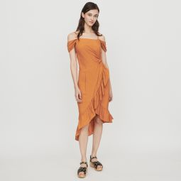ROUTILA Midi dress with bare shoulders