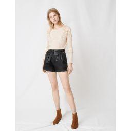 220ILYAD Leather studded shorts