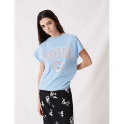 220TOLLEGE Sky blue screen-printed sweatshirt