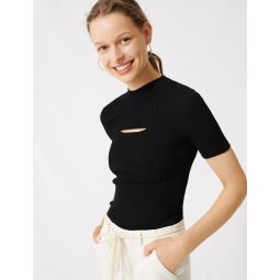220MOUTH Black jumper with open neckline