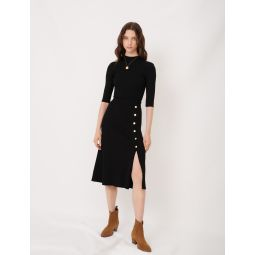 120JUPITER Knitted midi skirt with slit and buttons