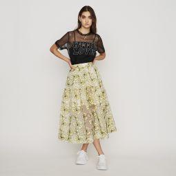 JIZIA Organza skirt with flowers