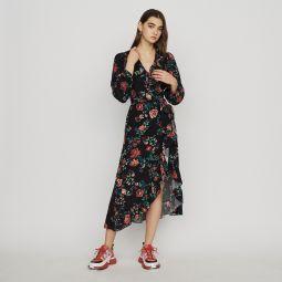 ROSETINA Long printed wrap dress