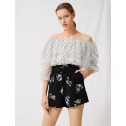220IMA Embroidered belted crepe shorts
