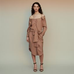 RULYLLA Striped shirt dress with bare shoulders