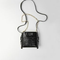 119MMINICROCOCHAINE Mini embossed-leather M bag with chain