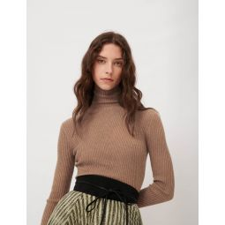 120MODA Fine ribbed sweater, stand-up collar